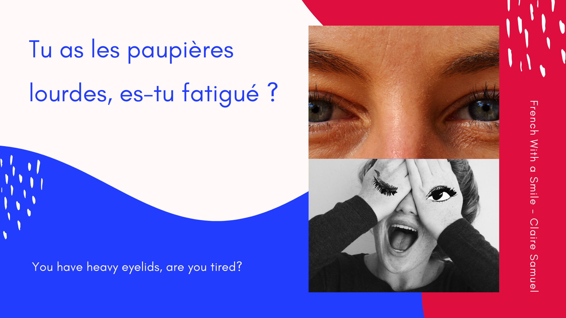 Beginner #20 Face parts vocabulary and sentences to pronounce and repeat in French or le visage