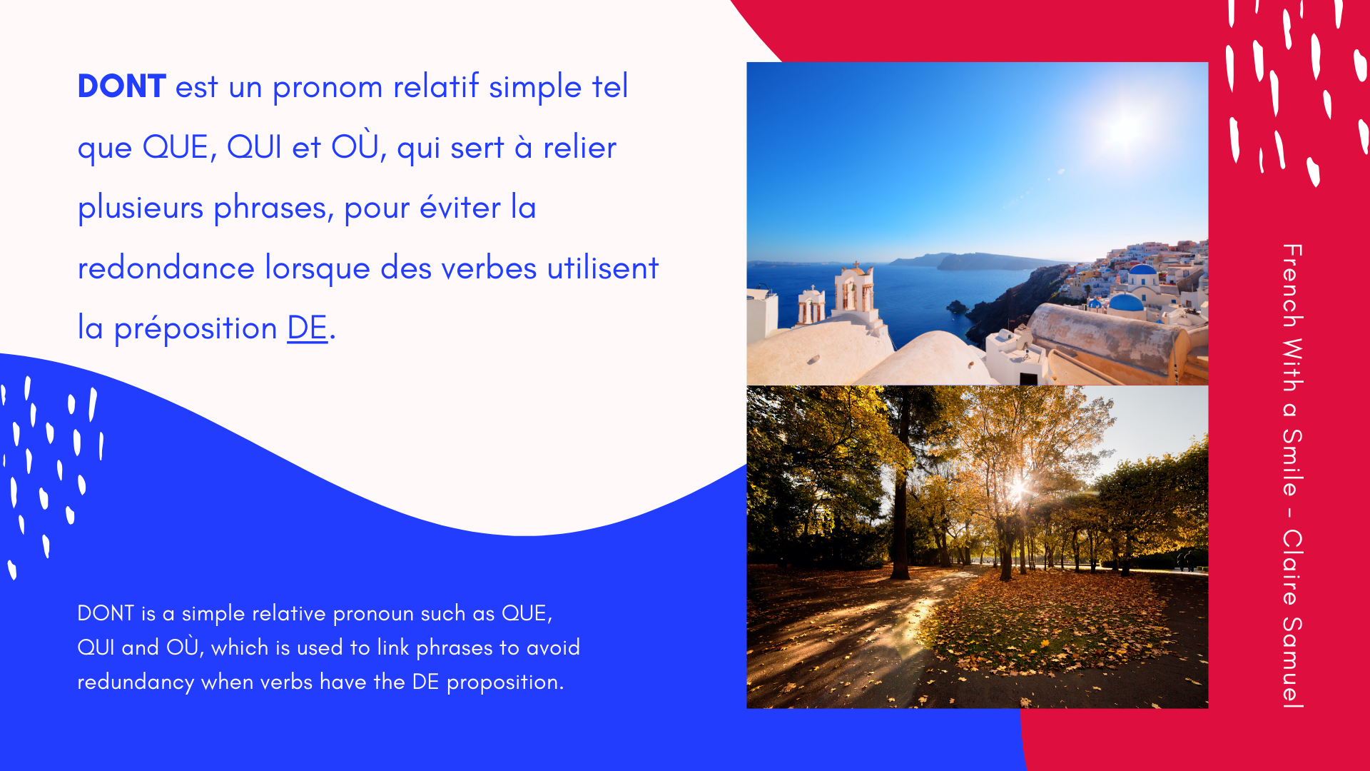 Advanced #21 How to use French relative pronoun DONT in whole sentences to practice and repeat
