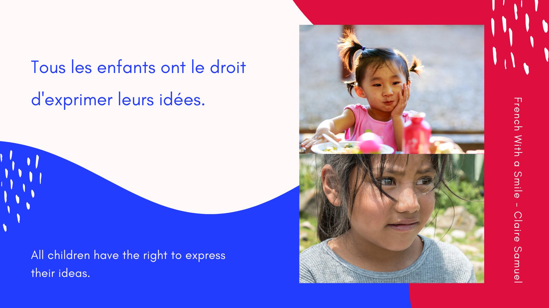 Intermediate #22 Children rights vocabulary and phrases La Convention des droits de l'enfant